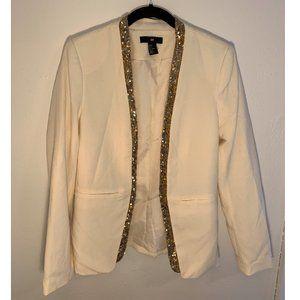 Cream blazer with gold sequin lapel